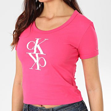 Calvin Klein - Tee Shirt Femme Mirrored Monogram Baby 2931 Rose