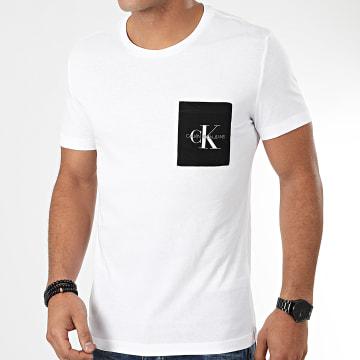 Calvin Klein - Tee Shirt Poche Monogram Pocket Slim 4070 Blanc