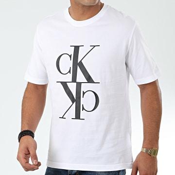 Calvin Klein - Tee Shirt Mirrored Monogram 4106 Blanc