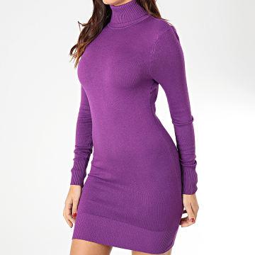 Robe Col Roulé Manches Longues Femme 1305 Violet
