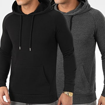 LBO - Lot De 2 Sweats Capuche 969 Gris Anthracite Et Noir
