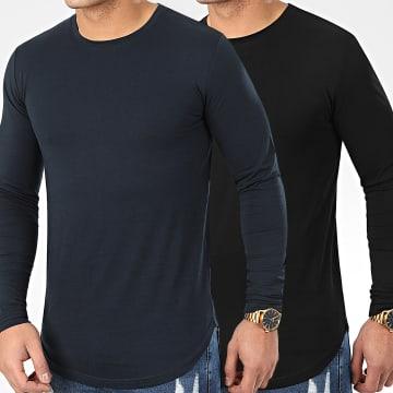 Lot De 2 Tee Shirts Oversize Manches Longues Unis 960 Noir Et Bleu Marine