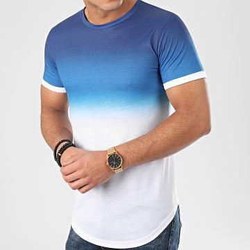 Tee Shirt Oversize Dégradé Avec Revers 943 Bleu Blanc
