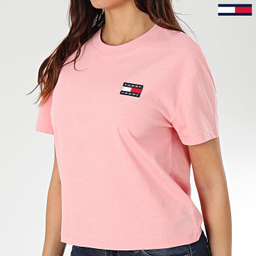Tommy Jeans - Tee Shirt Femme Tommy Badge 6813 Rose
