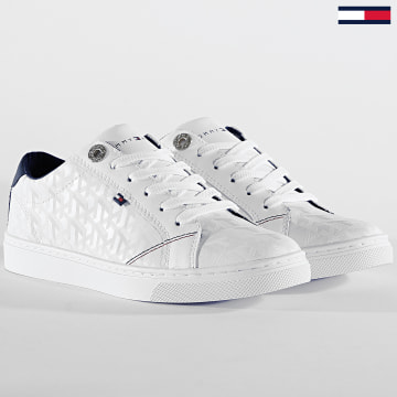 Baskets Femme Tommy Jacquard Leather Sneaker 4602 White
