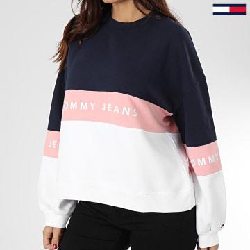 Tommy Jeans - Sweat Crewneck Femme Colorblock 7548 Bleu Marine Rose Blanc