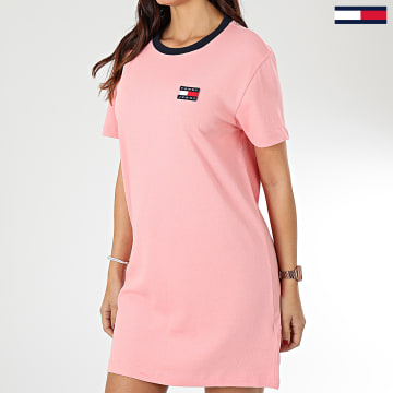 Tommy Hilfiger - Robe Tee Shirt Femme Contrast Neck Rib 7595 Rose