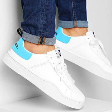 Diesel - Baskets S-Clever Low Lace Y02045-P0299 White Blue Fluo