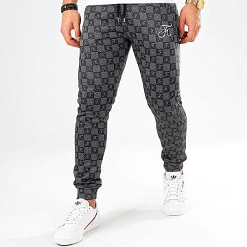 Pantalon Jogging Damier Avec Broderie 317 Noir Gris