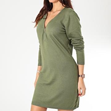 Robe Pull Col Zippé Femme A8503 Vert Kaki