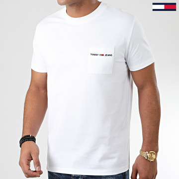 Tommy Jeans - Tee Shirt Poche Logo Pocket 7468 Blanc