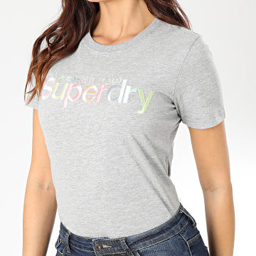 Tee Shirt Slim Femme Classic Rainbow Embroidered Entry W1000057A Gris Chiné