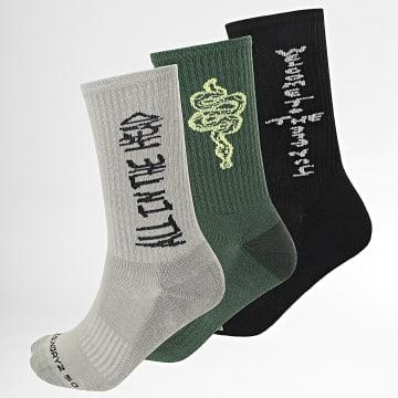 Lot De 3 Paires De Chaussettes Socks Gris Vert Noir