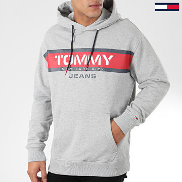 Tommy Jeans - Sweat Capuche Panel Logo 7615 Gris Chiné