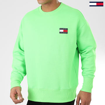 Sweat Crewneck Tommy Badge Neon 8120 Vert Fluo