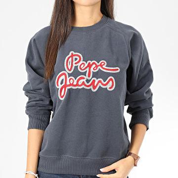 Pepe Jeans - Sweat Crewneck Femme Bonnie Bleu Gris