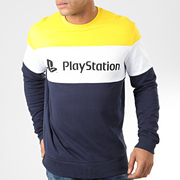Playstation - Sweat Crewneck Colour Block Bleu Marine Blanc Jaune