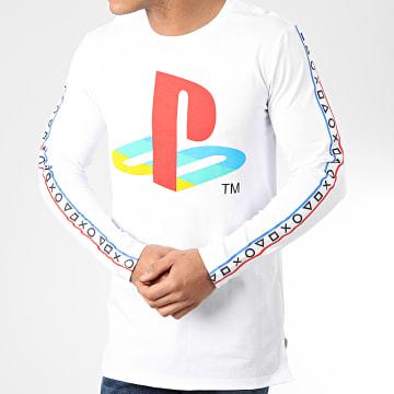 Playstation - Tee Shirt Manches Longues A Bandes Taping Blanc