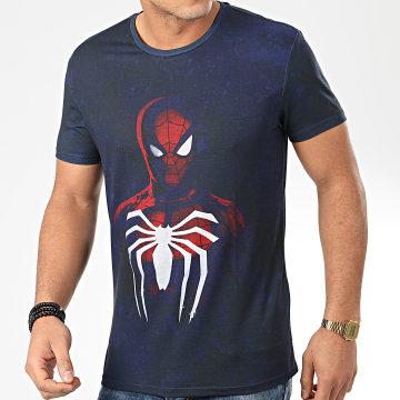 Tee Shirt Acid Wash Spiderman Bleu Marine