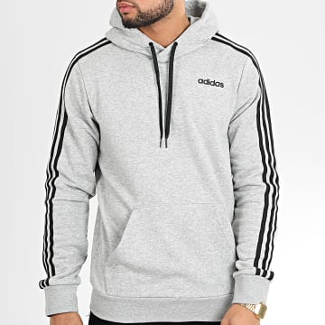 Sweat Capuche A Bandes Essentials PO DQ3091 Gris Chiné Noir