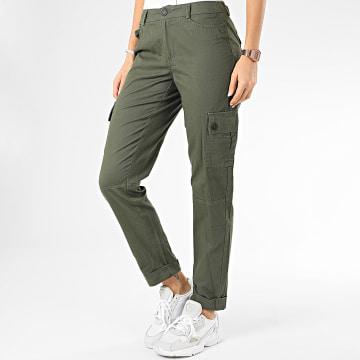 Only - Pantalon Cargo Femme Punk Vert Kaki
