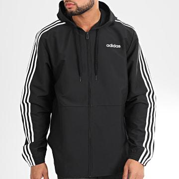 Adidas Originals - Veste Zippée Capuche A Bandes Essential DQ3066 Noir Blanc
