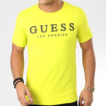Guess - Tee Shirt Slim M01I54-J1300 Jaune Fluo
