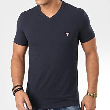 Guess - Tee Shirt Slim Col V M01I32-J1300 Bleu Marine