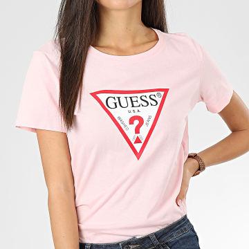 Guess - Tee Shirt Femme W01I98-JA900 Rose Clair