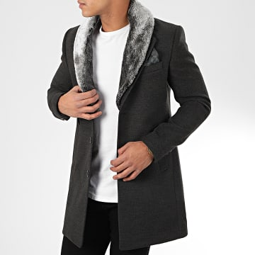 Manteau Col Fourrure 1033 Gris Anthracite Chiné