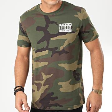 Tee Shirt Recto Verso Camouflage Vert Kaki Blanc