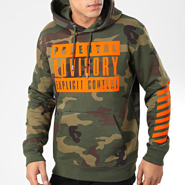 Parental Advisory - Sweat Capuche Big Camouflage Vert Kaki Orange