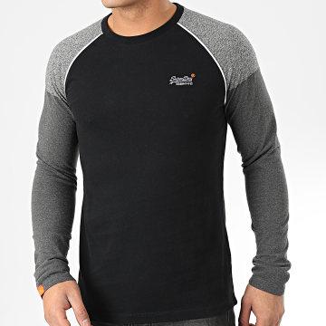 Tee Shirt Manches Longues OL Desert Baseball M6000032A Noir Gris Anthracite Chiné