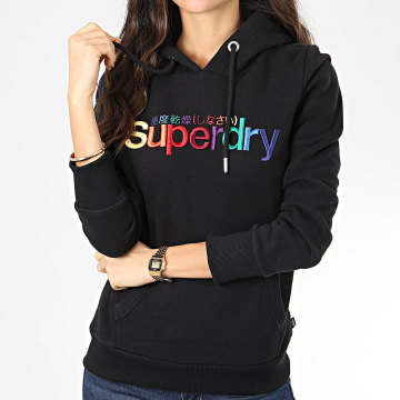 Superdry - Sweat Capuche Femme Classic Rainbow Embroidery Entry W2000075A Noir