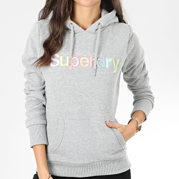Superdry - Sweat Capuche Femme Classic Rainbow Embroidery Entry W2000075A Gris Chiné