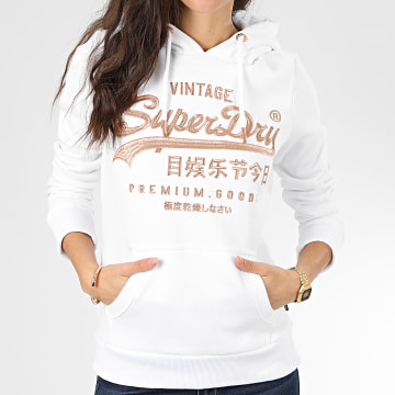 Superdry - Sweat Capuche Femme Premium Goods Luxe Embroidery Entry W2000087A Blanc Doré