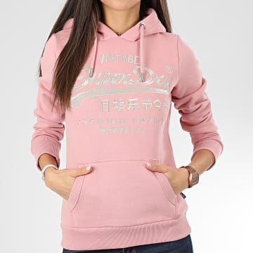 Superdry - Sweat Capuche Femme Premium Goods Luxe Embroidery Entry W2000087A Rose Clair Argenté