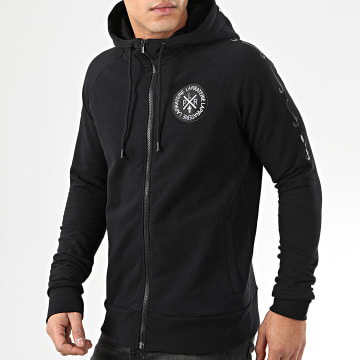 Sweat Zippé Capuche Hooligan Noir