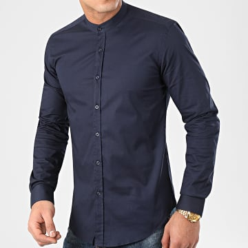 LBO - Chemise Manches Longues Col Mao Slim Fit 971 Bleu Marine