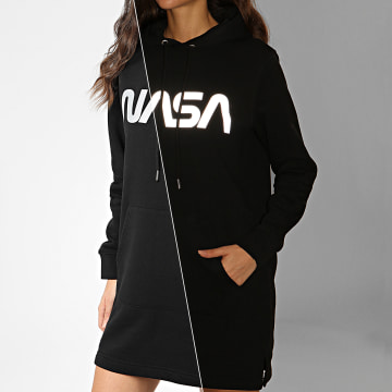 NASA - Sweat Capuche Robe Femme Worm Reflective Noir