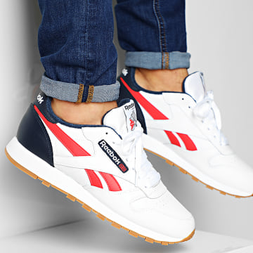 Baskets Classic Leather MU EF7827 White Collegiate Navy Radiant Red