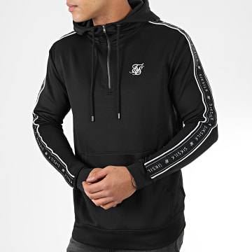 SikSilk - Sweat Col Zippé Capuche A Bandes 1/4 Zip Overhead Panel 15425 Noir