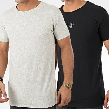 SikSilk - Lot De 2 Tee Shirts Lounge 15583 Noir Gris Chiné