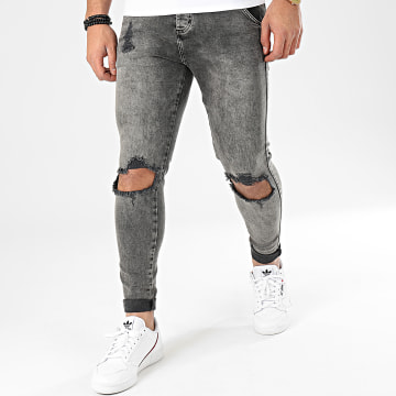 Jean Skinny Distressed Slice Knees 16059 Gris