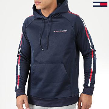 Tommy Sport - Sweat Capuche A Bandes Tape Fleece 0325 Bleu Marine