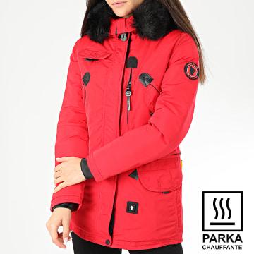 Parka Chauffante Fourrure Femme Montreal Rouge Noir