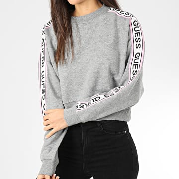 Guess - Sweat Crewneck Crop Femme A Bandes W01Q87-K8800 Gris Chiné