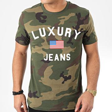 Tee Shirt Luxury Jeans Camouflage Vert Kaki