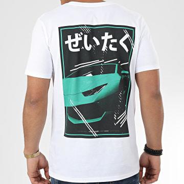 Tee Shirt Luxury Life Blanc Vert