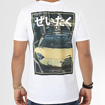 Tee Shirt Luxury Life Blanc Jaune